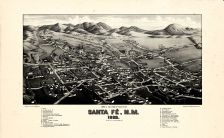 Santa Fe 1882c Bird's Eye View 17x27, Santa Fe 1882c Bird's Eye View
